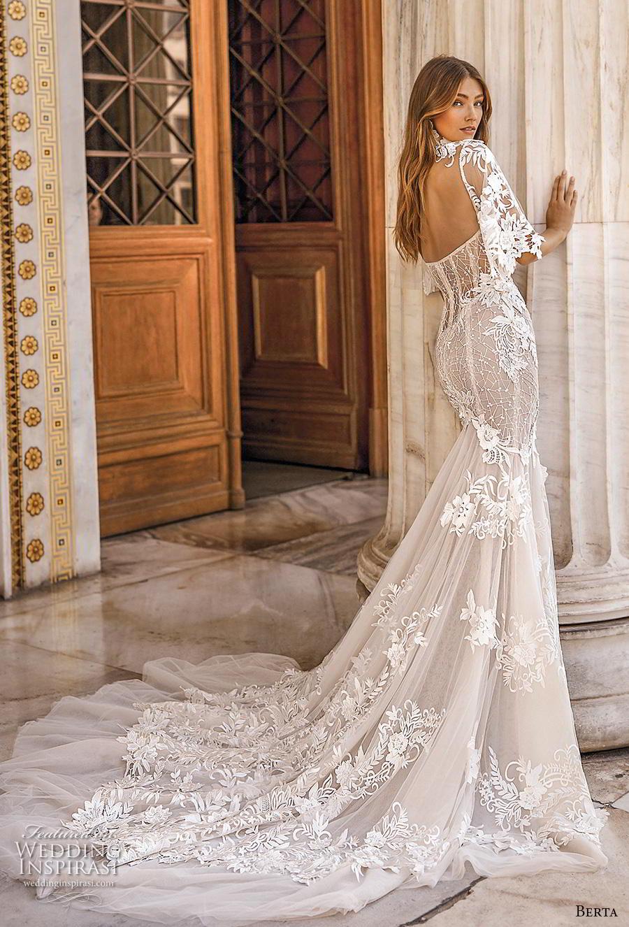 berta fall 2019 bridal half handkerchief sleeves high neck sweetheart neckline full embellishment elegant mermaid wedding dress mid back chapel train (9) bv