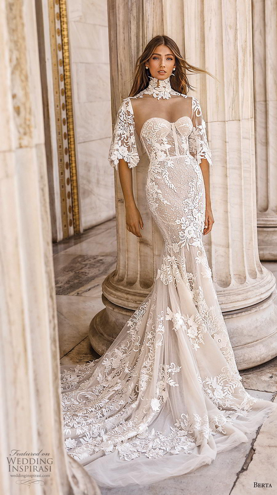 berta fall 2019 bridal half handkerchief sleeves high neck sweetheart neckline full embellishment elegant mermaid wedding dress mid back chapel train (9) mv