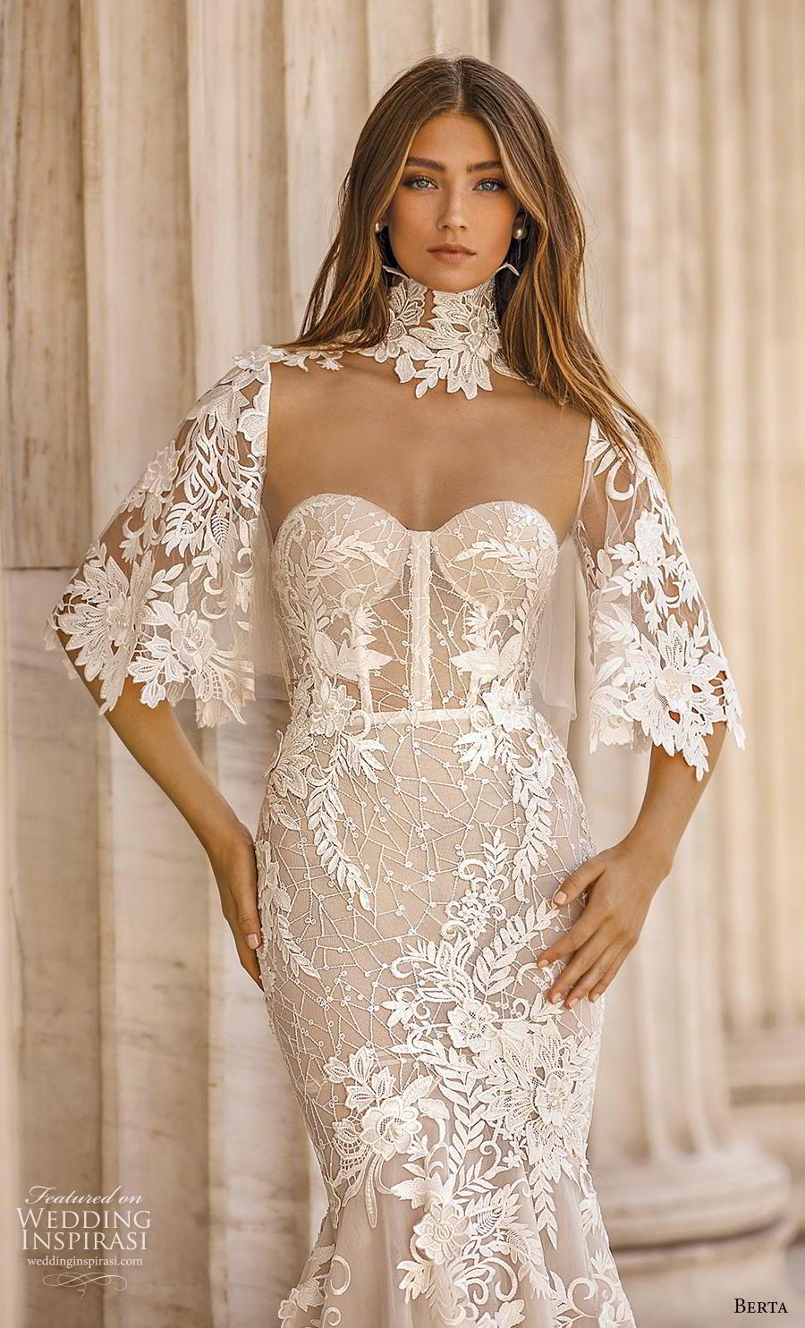 berta fall 2019 bridal half handkerchief sleeves high neck sweetheart neckline full embellishment elegant mermaid wedding dress mid back chapel train (9) zv