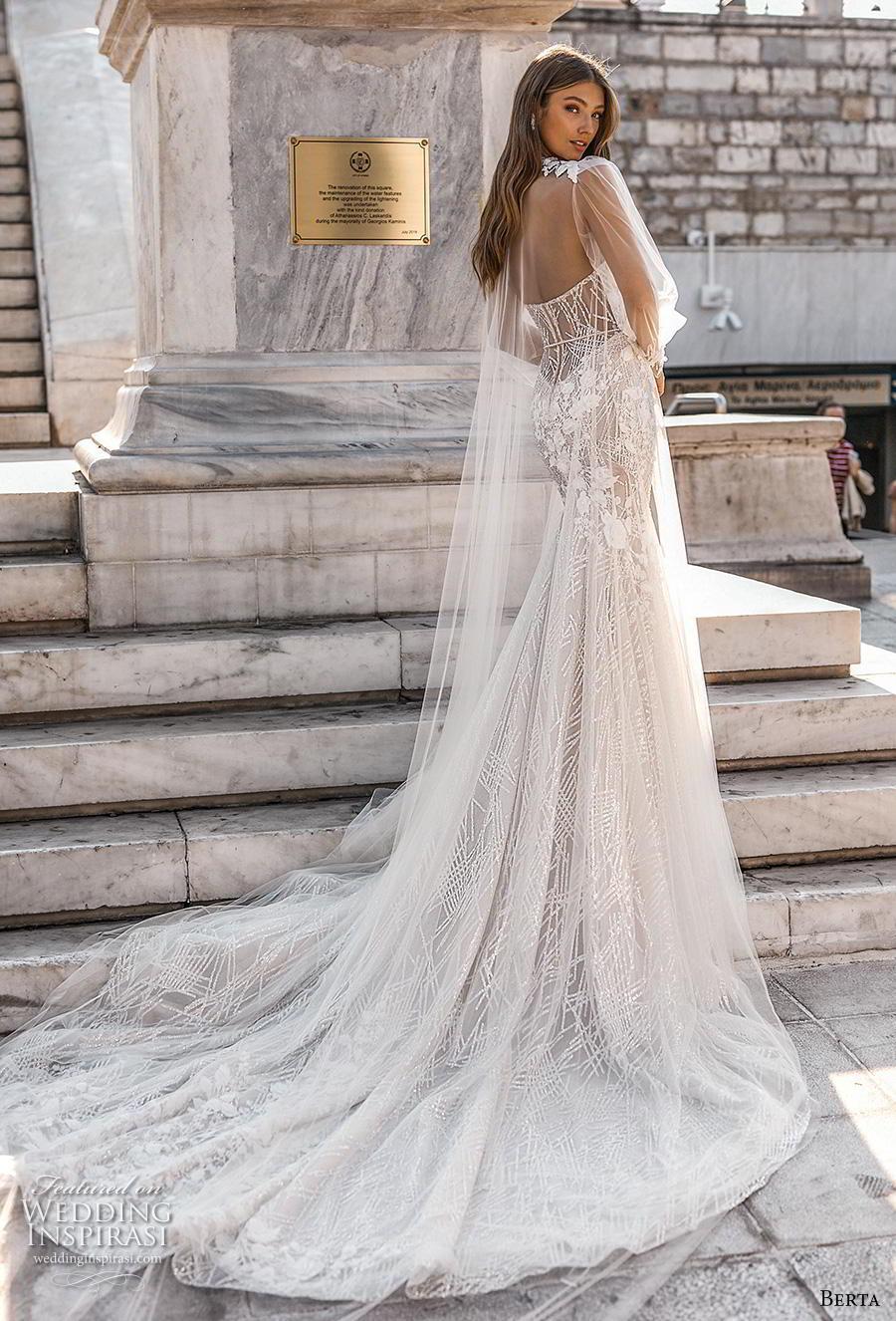berta fall 2019 bridal long bishop sleeves illusion jewel sweetheart neckline full embellishment elegant glamorous mermaid wedding dress chapel train (10) bv