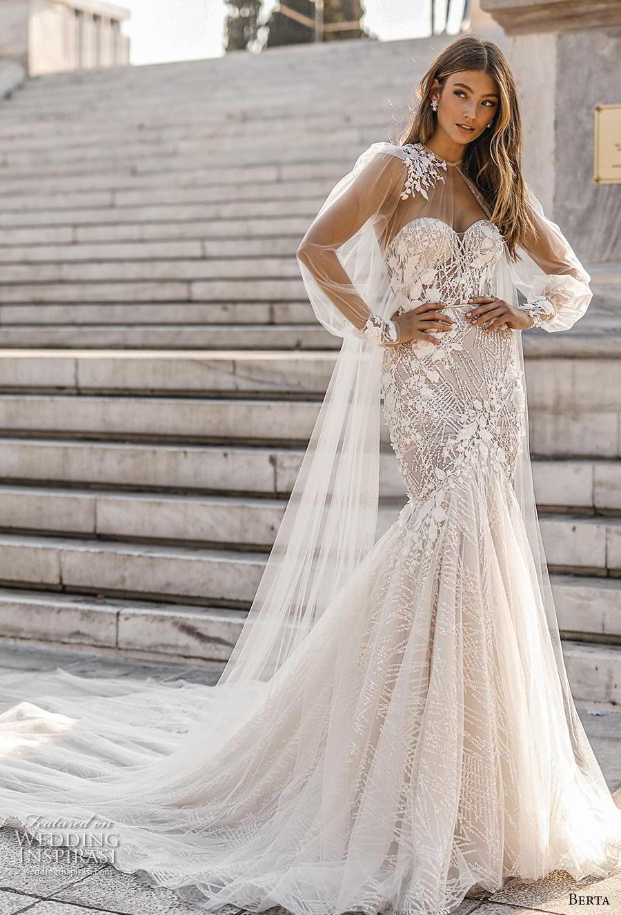 berta fall 2019 bridal long bishop sleeves illusion jewel sweetheart neckline full embellishment elegant glamorous mermaid wedding dress chapel train (10) mv