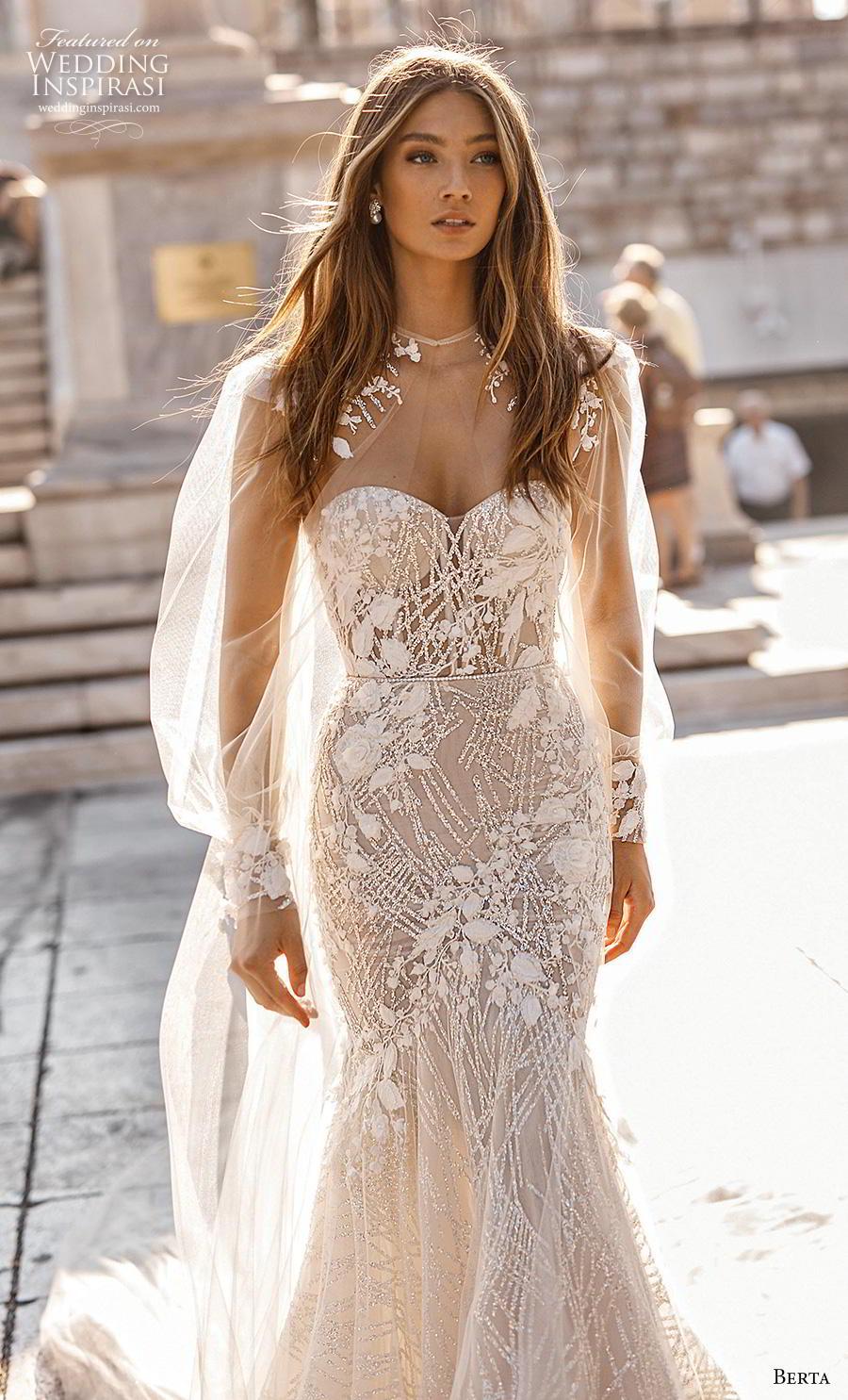 berta fall 2019 bridal long bishop sleeves illusion jewel sweetheart neckline full embellishment elegant glamorous mermaid wedding dress chapel train (10) zv