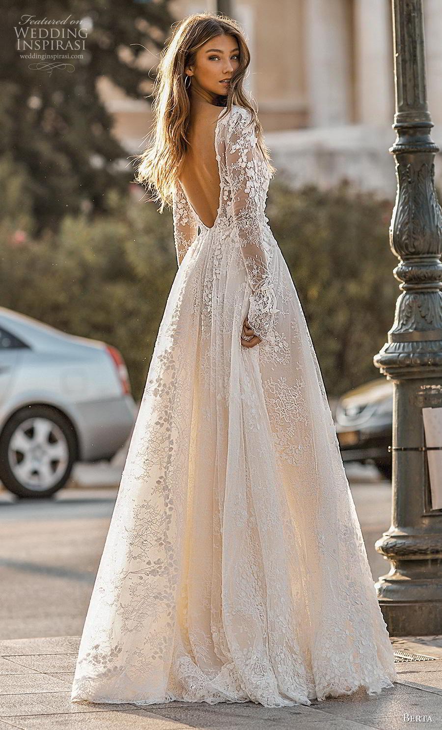 berta fall 2019 bridal long poet sleeves deep v neck full embellishment sexy romantic a  line wedding dress backless v back sweep train (1) bv