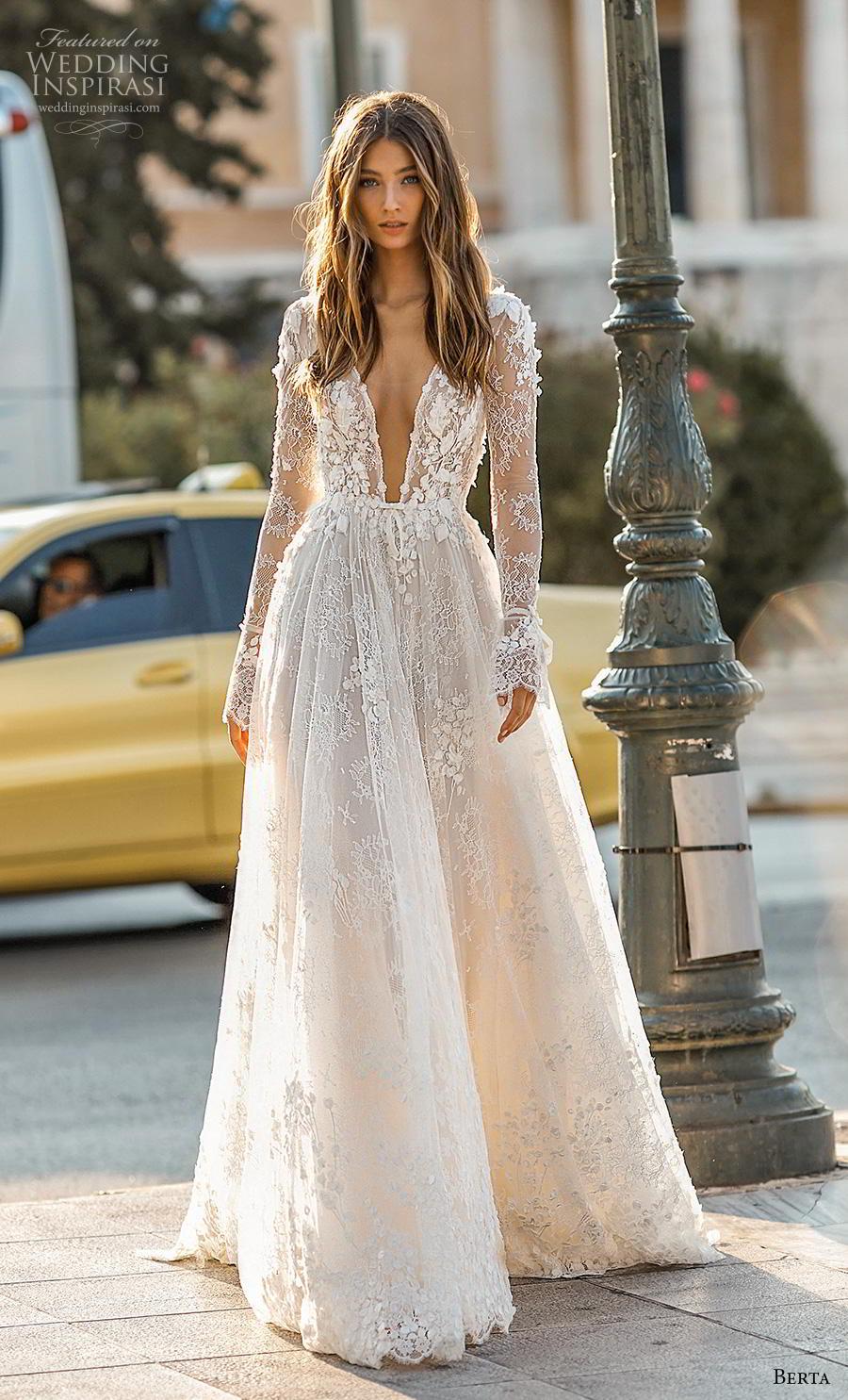 berta fall 2019 bridal long poet sleeves deep v neck full embellishment sexy romantic a line wedding dress backless v back sweep train (1) mv