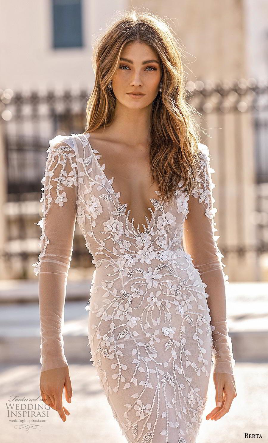 berta fall 2019 bridal long sleeves v neck full embellishment elegant glamorous fit and flare sheath wedding dress backless scoop back medium train (6) zv
