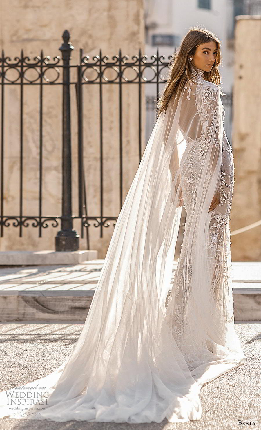 berta fall 2019 bridal long sleeves v neck full embellishment elegant glamorous fit and flare sheath wedding dress with cape backless scoop back medium train (6) bv
