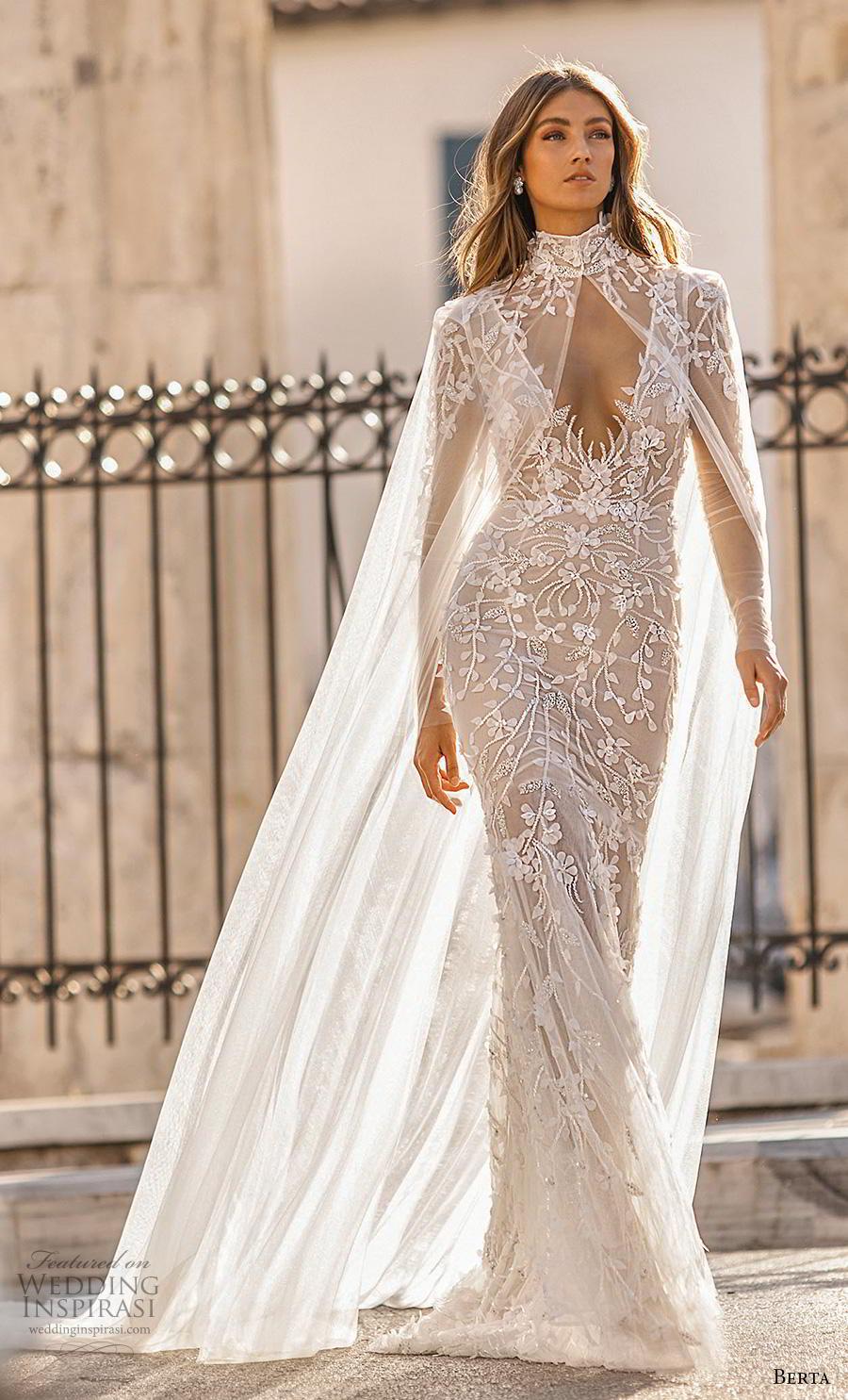 berta fall 2019 bridal long sleeves v neck full embellishment elegant glamorous fit and flare sheath wedding dress with cape backless scoop back medium train (6) mv