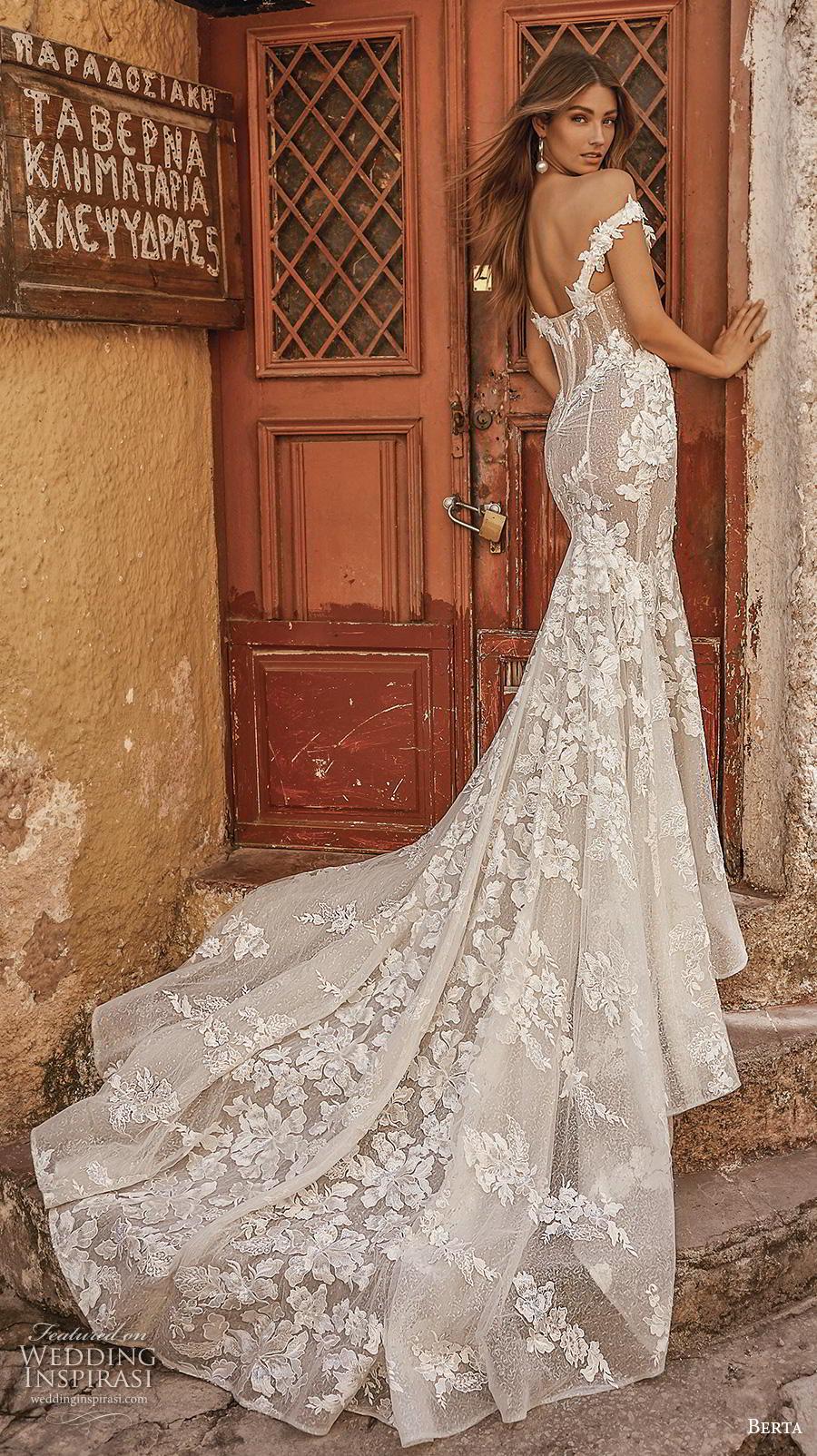 berta fall 2019 bridal off the shoulder sweetheart neckline full embellishment bustuer elegant mermaid wedding dress mid back chapel train (3) bv