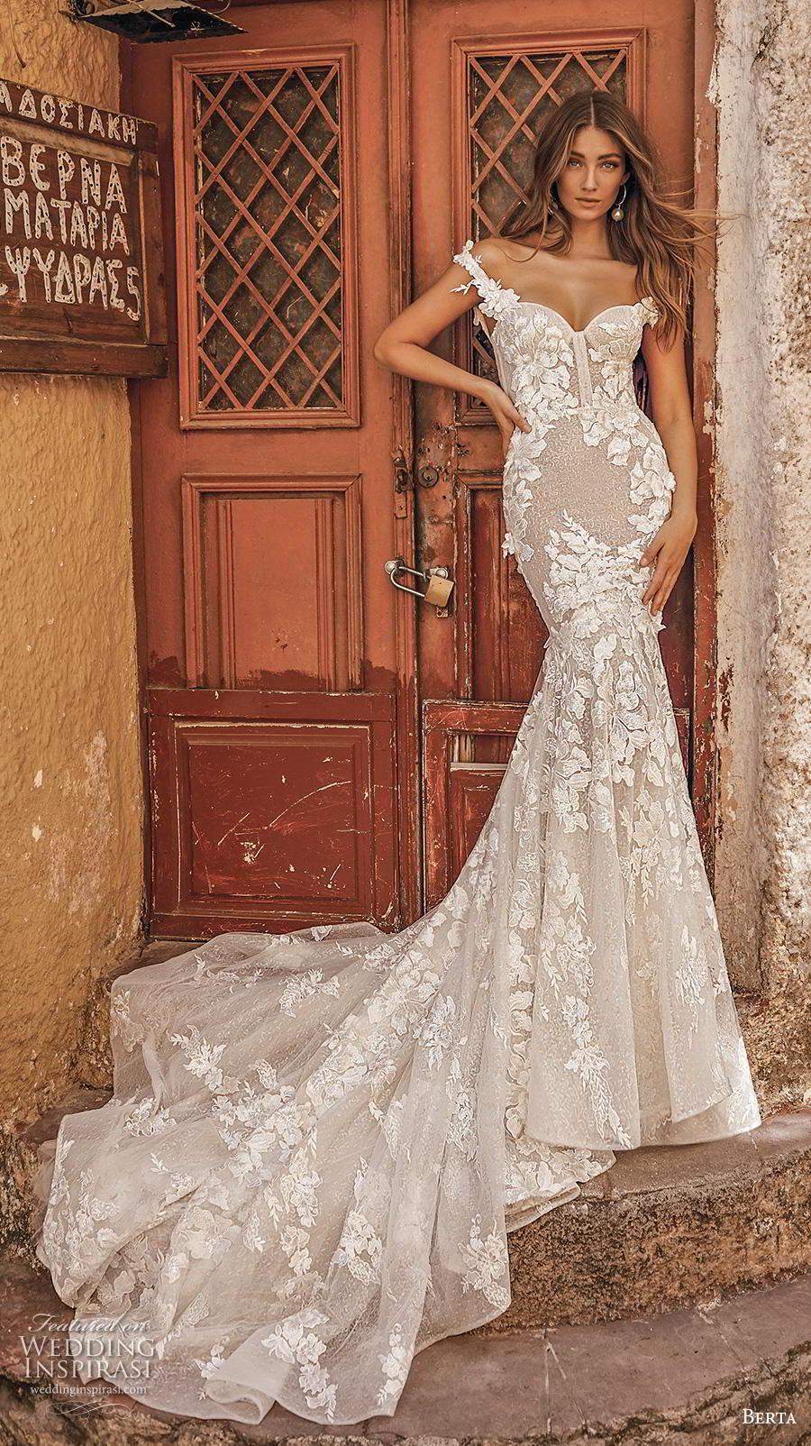 berta fall 2019 bridal off the shoulder sweetheart neckline full embellishment bustuer elegant mermaid wedding dress mid back chapel train (3) mv