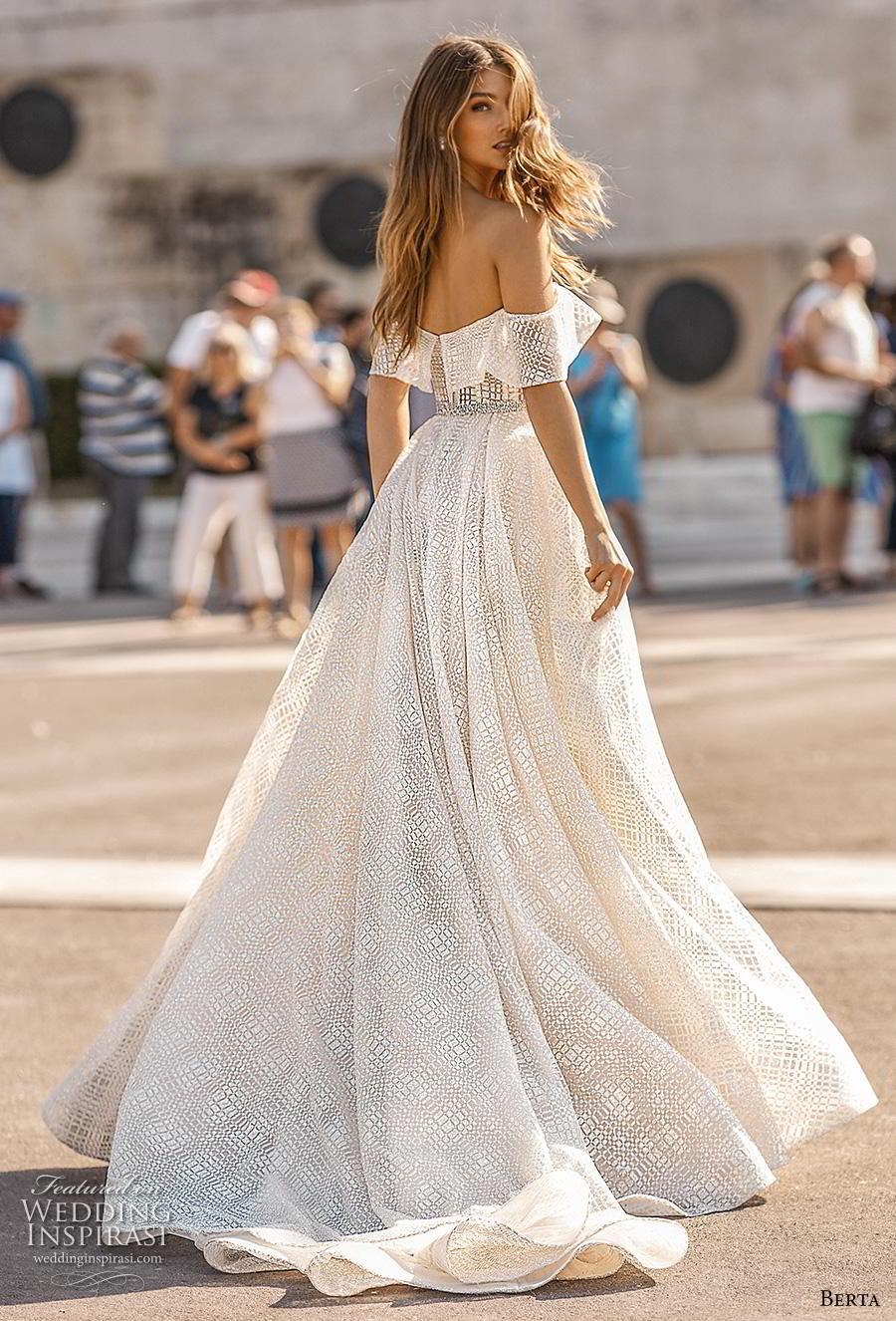 berta fall 2019 bridal off the shoulder sweetheart neckline full embellishment romantic a  line wedding dress mid back short train (11) bv