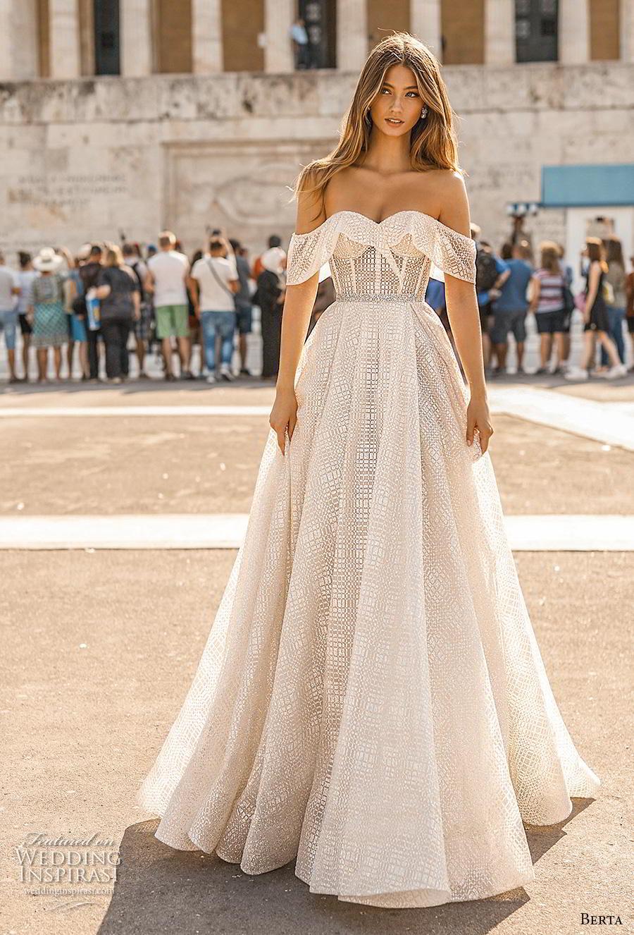 berta fall 2019 bridal off the shoulder sweetheart neckline full embellishment romantic a  line wedding dress mid back short train (11) mv
