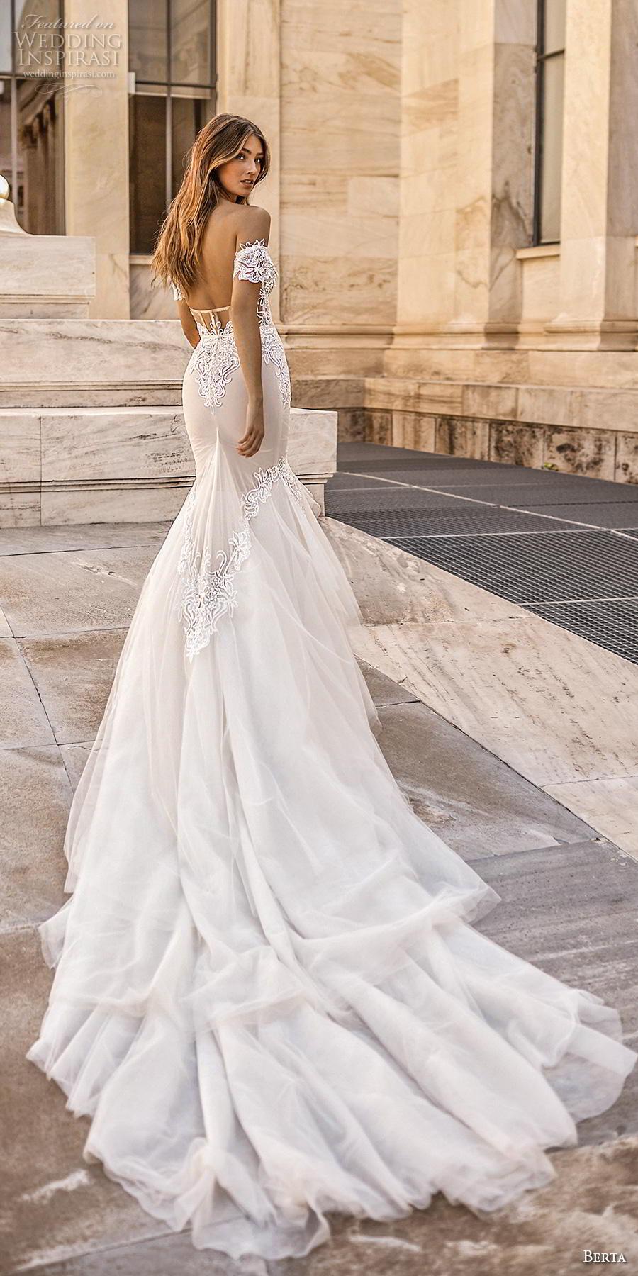 berta fall 2019 bridal off the shoulder sweetheart neckline heavily embellished bodice bustier elegant sexy mermaid wedding dress chapel train (4) bv