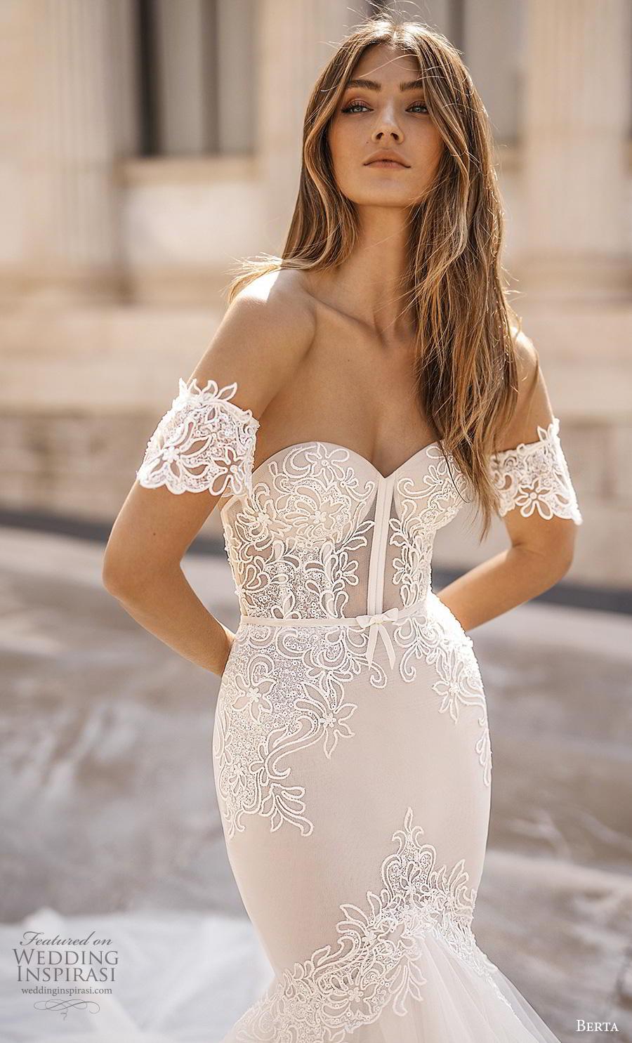 berta fall 2019 bridal off the shoulder sweetheart neckline heavily embellished bodice bustier elegant sexy mermaid wedding dress chapel train (4) zv