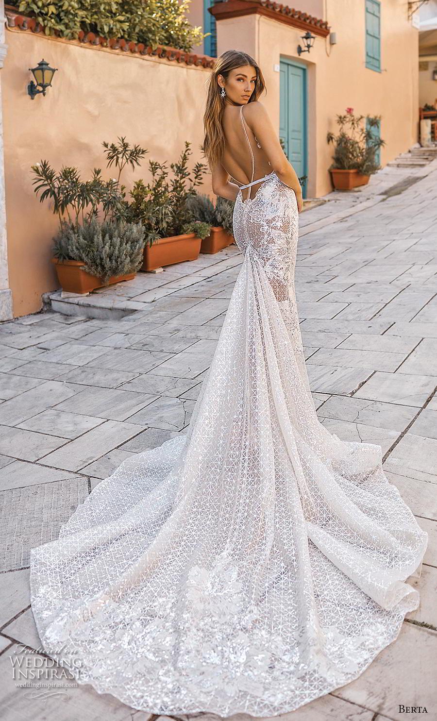 berta fall 2019 bridal sleeveless deep v neck full embellishment elegant sexy fit and flare mermaid wedding dress backless scoop back chapel train (13) bv