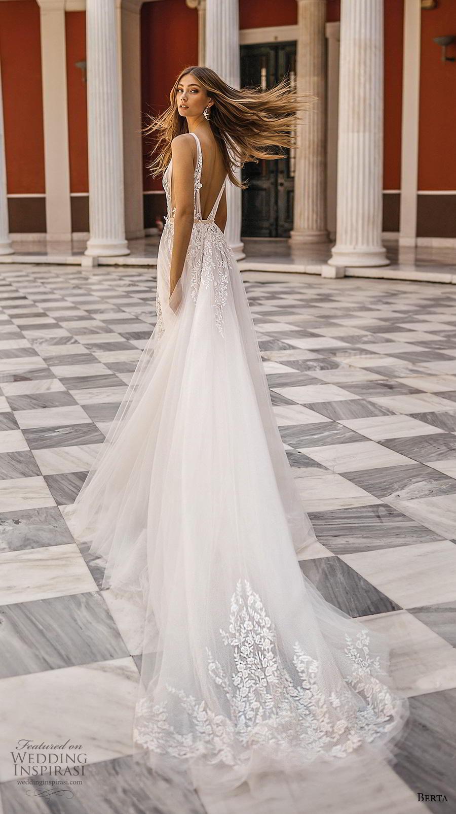 berta fall 2019 bridal sleeveless deep v neck full embellishment romantic sheath wedding dress a  line overskirt backless v back chapel train (15) bv