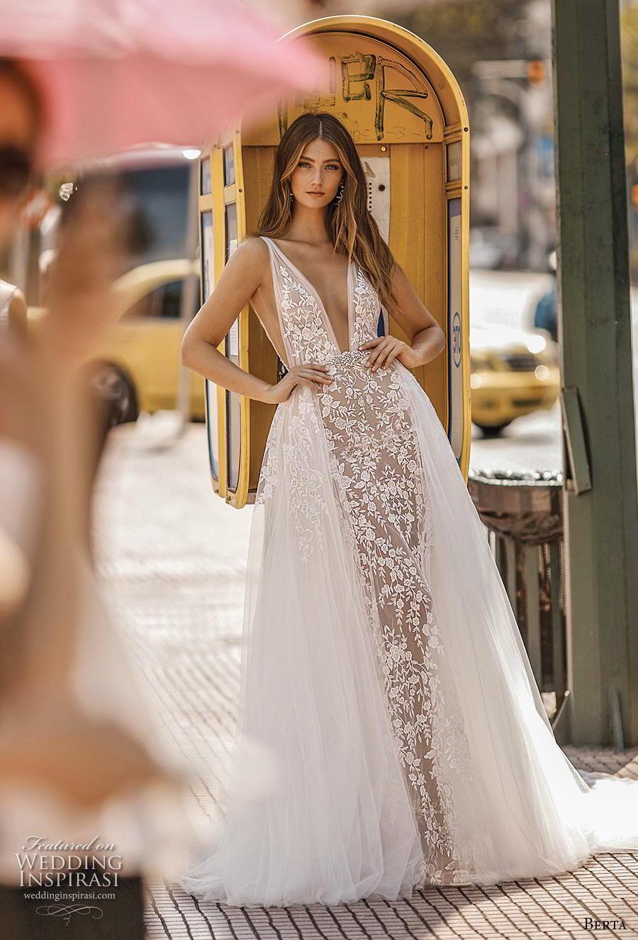 berta fall 2019 bridal sleeveless deep v neck full embellishment romantic sheath wedding dress a  line overskirt backless v back chapel train (15) mv