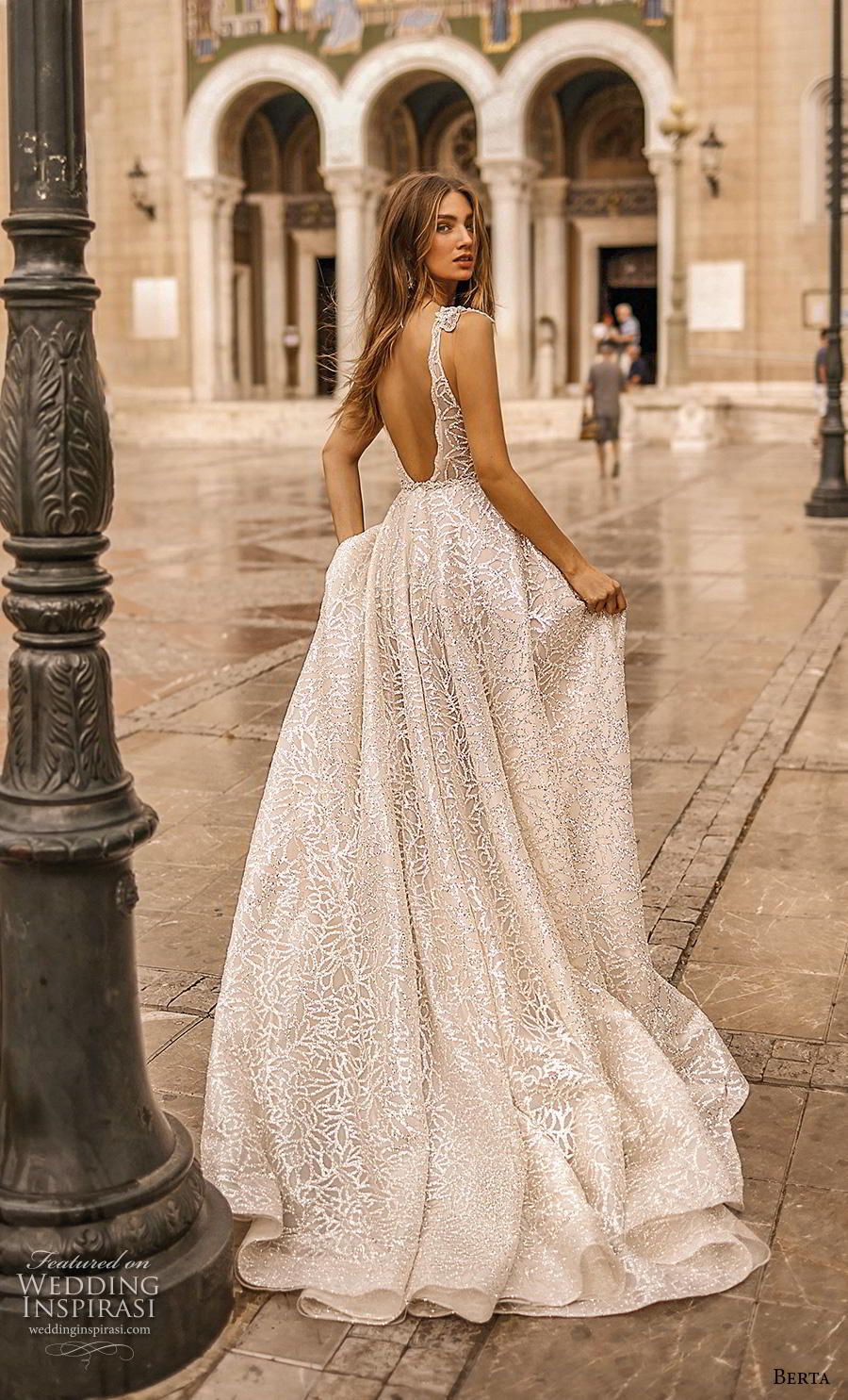 berta fall 2019 bridal sleeveless deep v neck full embellishment sexy glamorous a  line wedding dress backless scoop back chapel train (16) bv