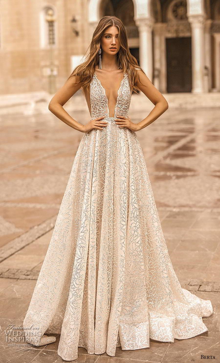 berta fall 2019 bridal sleeveless deep v neck full embellishment sexy glamorous a  line wedding dress backless scoop back chapel train (16) mv