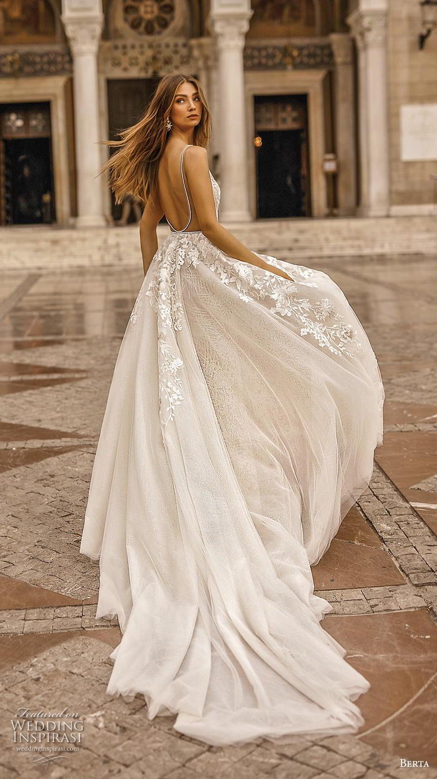 berta fall 2019 bridal sleeveless deep v neck full embellishment sexy romantic fit and flare wedding dress a  line overskirt backless scoop back chapel train (8) bv