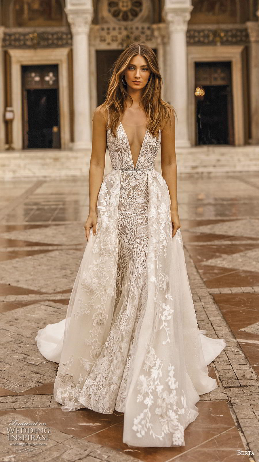 berta fall 2019 bridal sleeveless deep v neck full embellishment sexy romantic fit and flare wedding dress a  line overskirt backless scoop back chapel train (8) mv