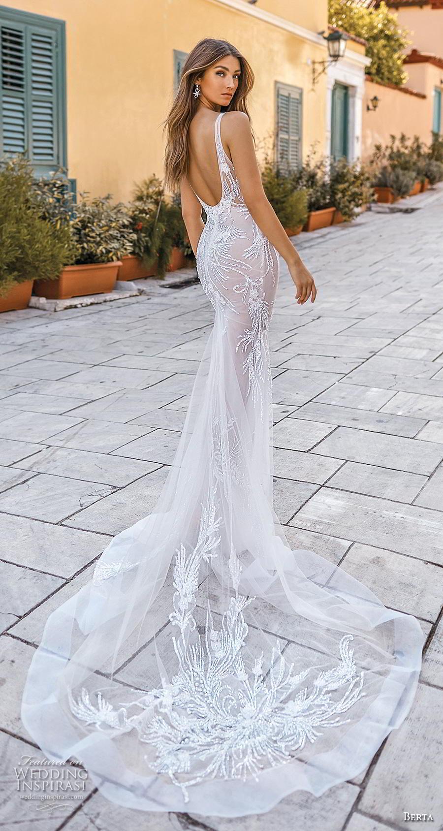 berta fall 2019 bridal sleeveless deep v neck heavily embellished bodice elegant glamorous fit and flare wedding dress open scoop back chapel train (17) bv