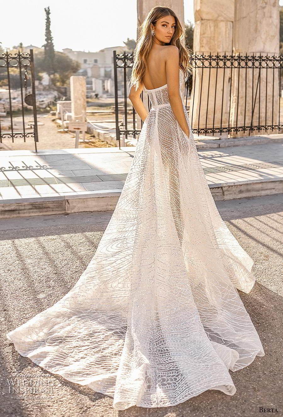 berta fall 2019 bridal strapless deep plunging sweetheart neckline full embellishment romantic a  line wedding dress pockets mid back chapel train (14) bv