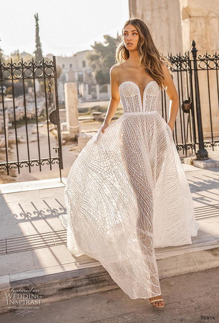 berta fall 2019 bridal strapless deep plunging sweetheart neckline full embellishment romantic a  line wedding dress pockets mid back chapel train (14) mv