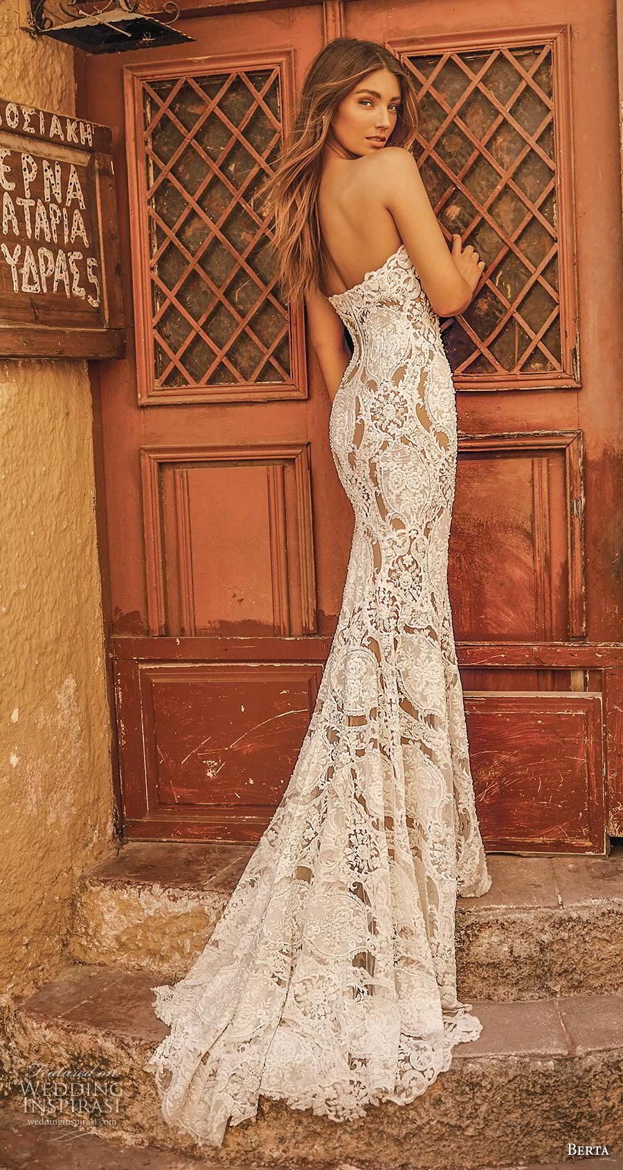 berta fall 2019 bridal strapless sweetheart neckline full embellishment elegant glamorous fit and flare wedding dress mid back medium train (12) bv