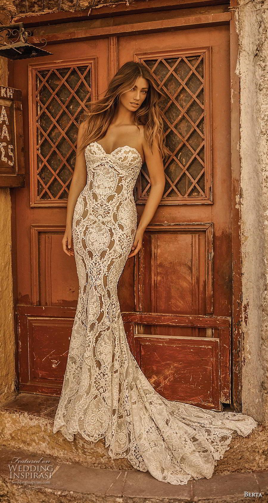 berta fall 2019 bridal strapless sweetheart neckline full embellishment elegant glamorous fit and flare wedding dress mid back medium train (12) mv
