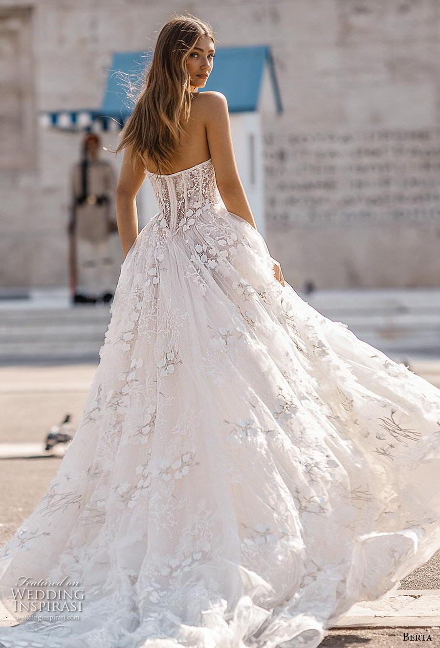 berta fall 2019 bridal strapless sweetheart neckline full emnbellishment bustier ribbon waist romantic a  line wedding dress mid back chapel train (5) bv
