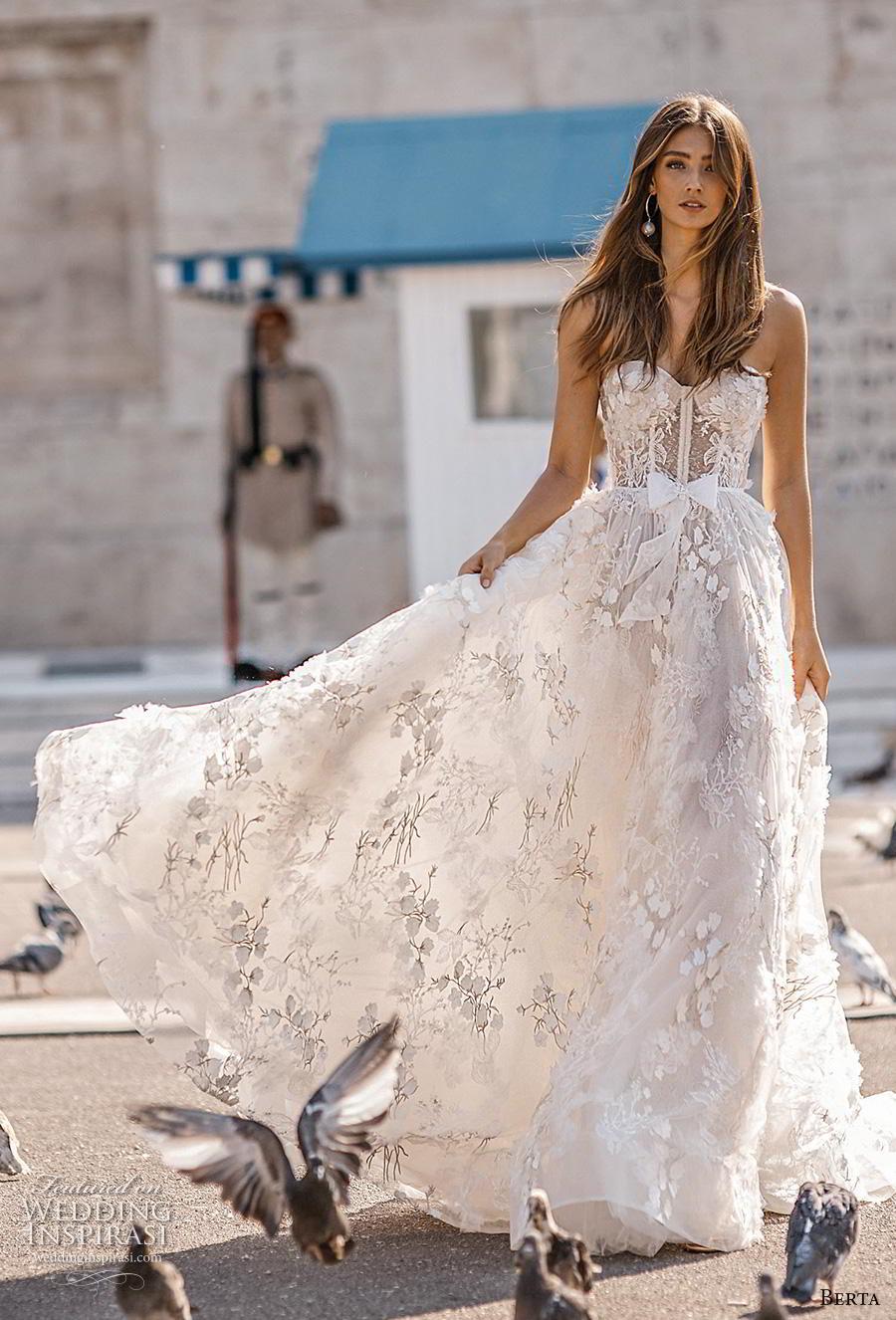 berta fall 2019 bridal strapless sweetheart neckline full emnbellishment bustier ribbon waist romantic a  line wedding dress mid back chapel train (5) mv