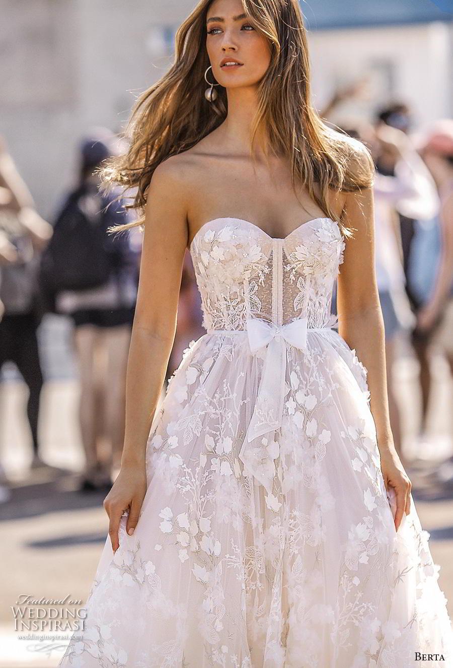 berta fall 2019 bridal strapless sweetheart neckline full emnbellishment bustier ribbon waist romantic a  line wedding dress mid back chapel train (5) zv