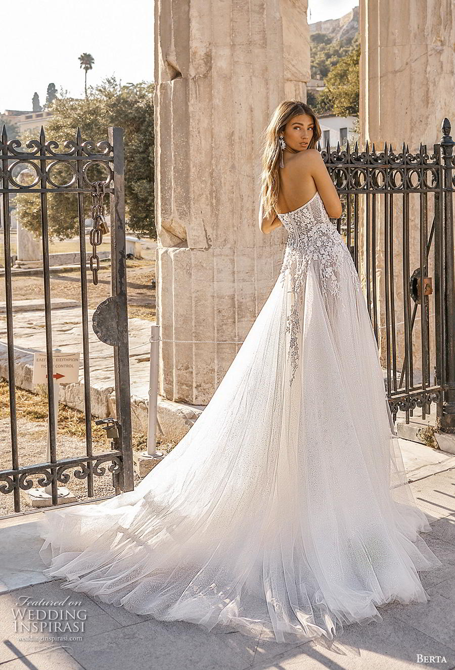 berta fall 2019 bridal strapless sweetheart neckline heavily embellished bodice romantic a  line wedding dress mid back chapel train (7) bv