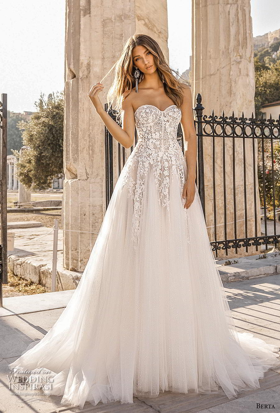 f953aa5416cff berta fall 2019 bridal strapless sweetheart neckline heavily embellished  bodice romantic a line wedding dress mid