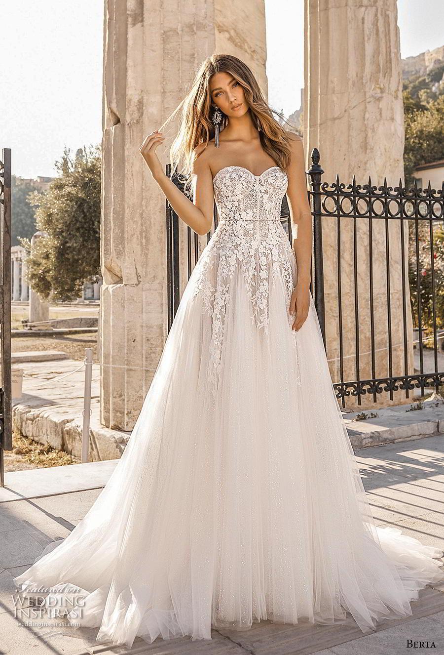 berta fall 2019 bridal strapless sweetheart neckline heavily embellished bodice romantic a  line wedding dress mid back chapel train (7) mv