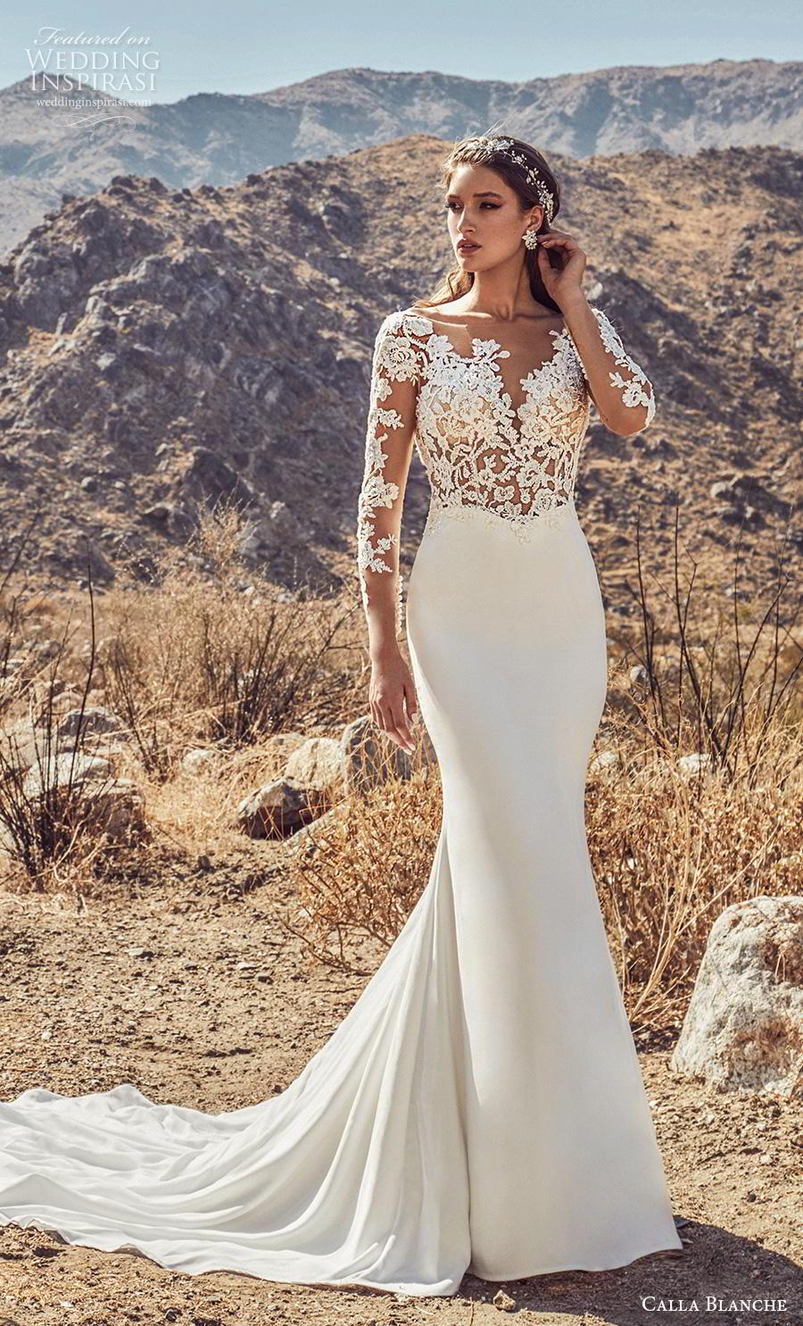 33430efdc4e6 calla blanche spring 2019 bridal long sleeves deep sweetheart neckline  heavily embellished bodice elegant sheath wedding .