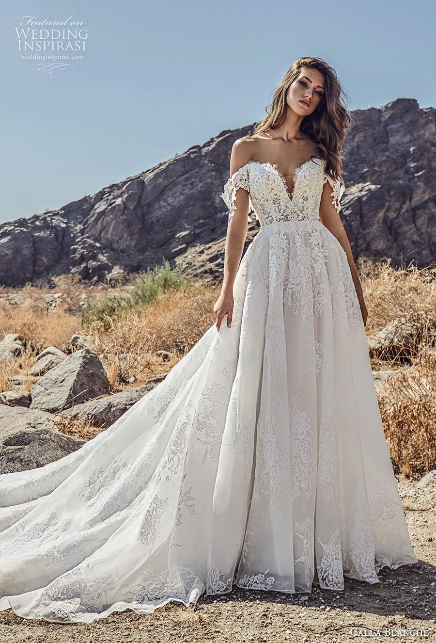 calla blanche spring 2019 bridal off the shoulder deep sweetheart neckline heavily embellished bodice romantic princess a  line wedding dress mid back chapel train (1) mv