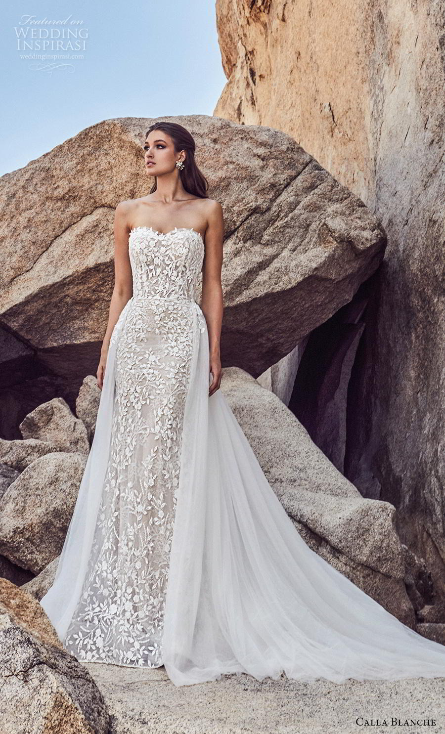 104828127f36f calla blanche spring 2019 bridal strapless sweetheart neckline full  embellishment elegant fit and flare wedding dress .