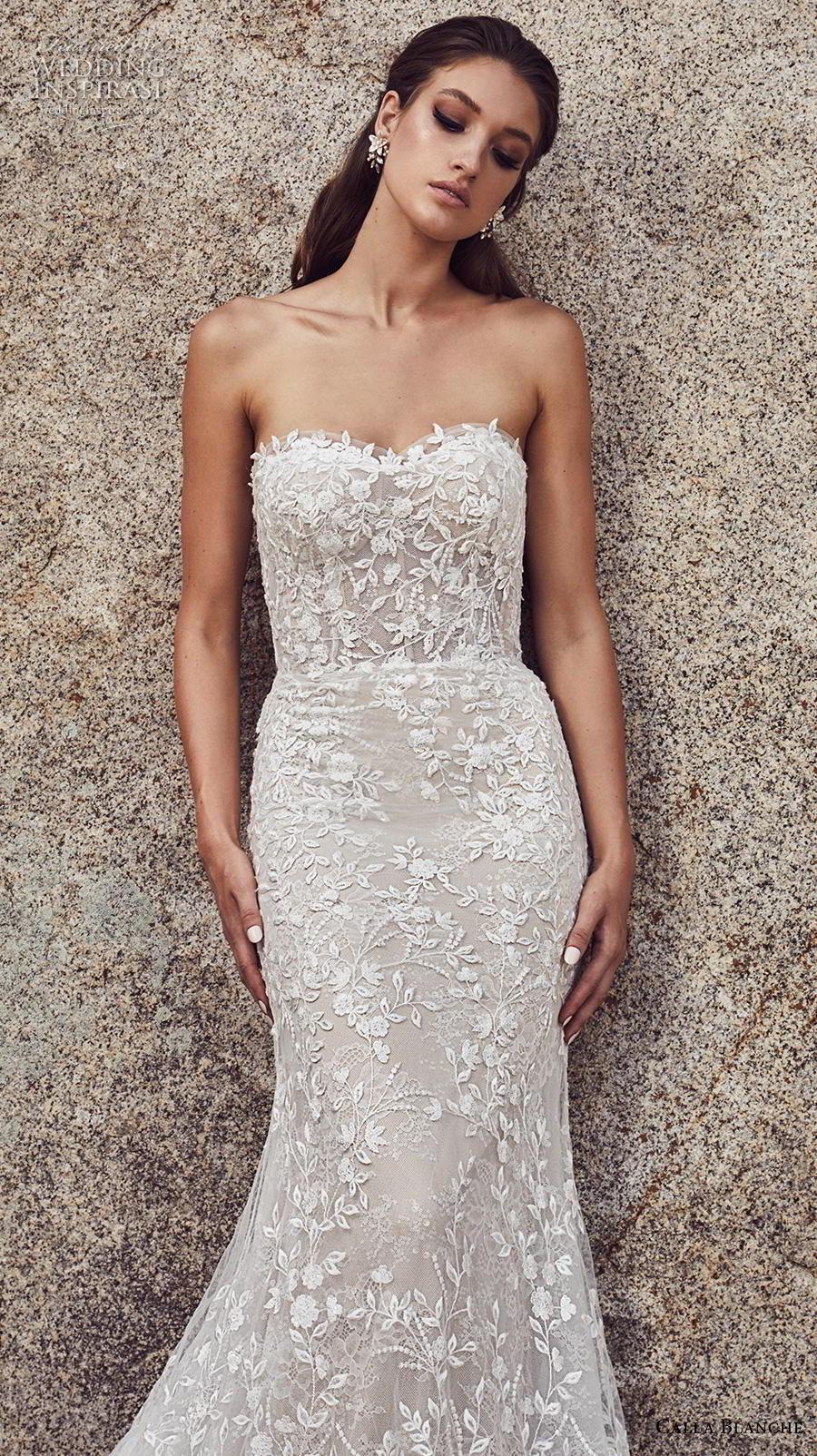 825f54b41c5f calla blanche spring 2019 bridal strapless sweetheart neckline full embellishment  elegant fit and flare wedding dress