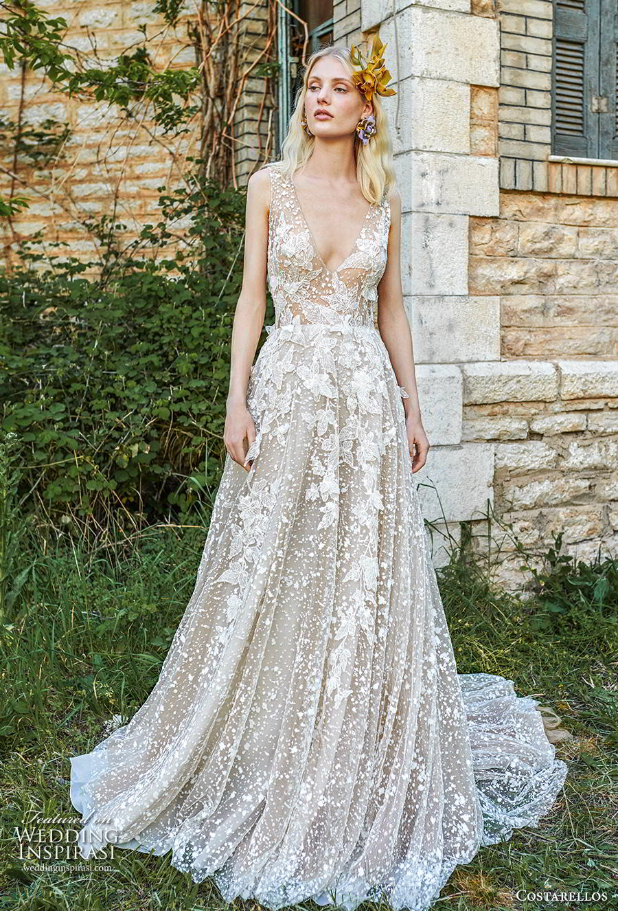 costarellos spring 2019 bridal sleeveless with strap deep v neck full embellishment romantic a  line wedding dress backless scoop back chapel train (9) mv
