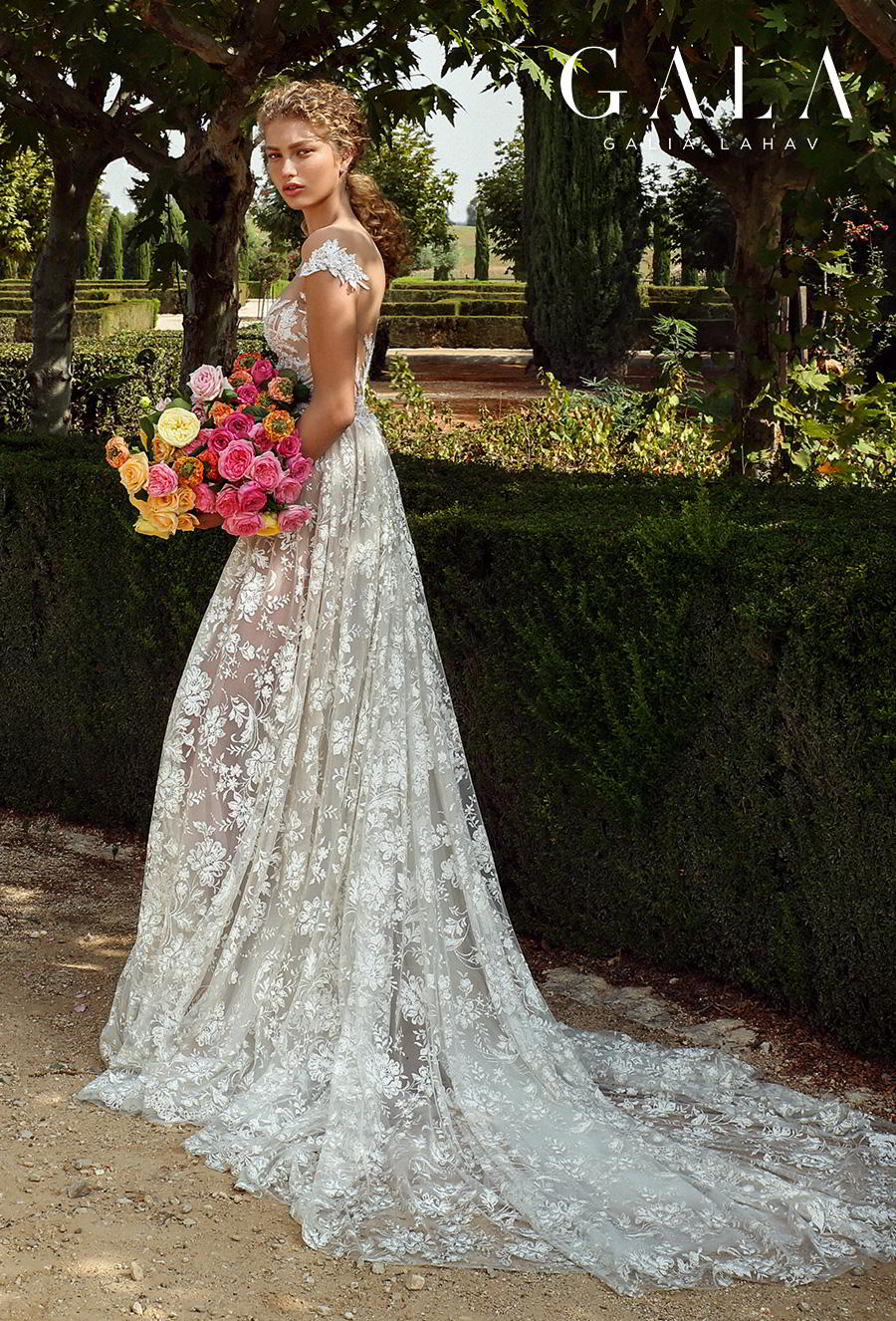 galia lahav gala fall 2019 bridal cap sleeve illusion bateau sweetheart neckline full embellishment glitzy elegant glamorous a  line wedding dress mid back chapel train (213) bv