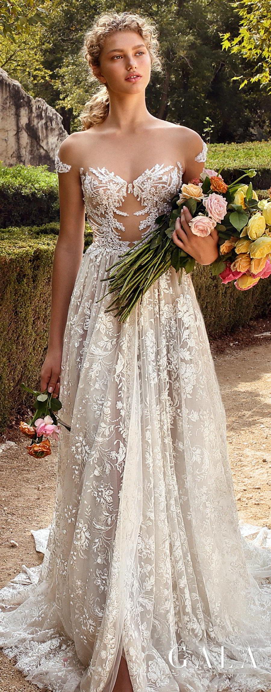 galia lahav gala fall 2019 bridal cap sleeve illusion bateau sweetheart neckline full embellishment glitzy elegant glamorous a  line wedding dress mid back chapel train (213) lv