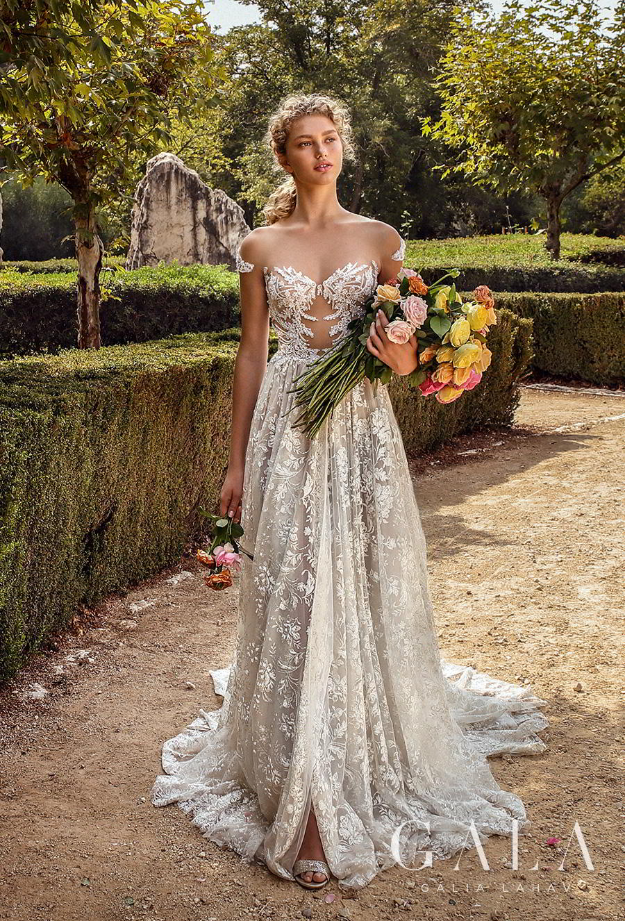 galia lahav gala fall 2019 bridal cap sleeve illusion bateau sweetheart neckline full embellishment glitzy elegant glamorous a  line wedding dress mid back chapel train (213) mv