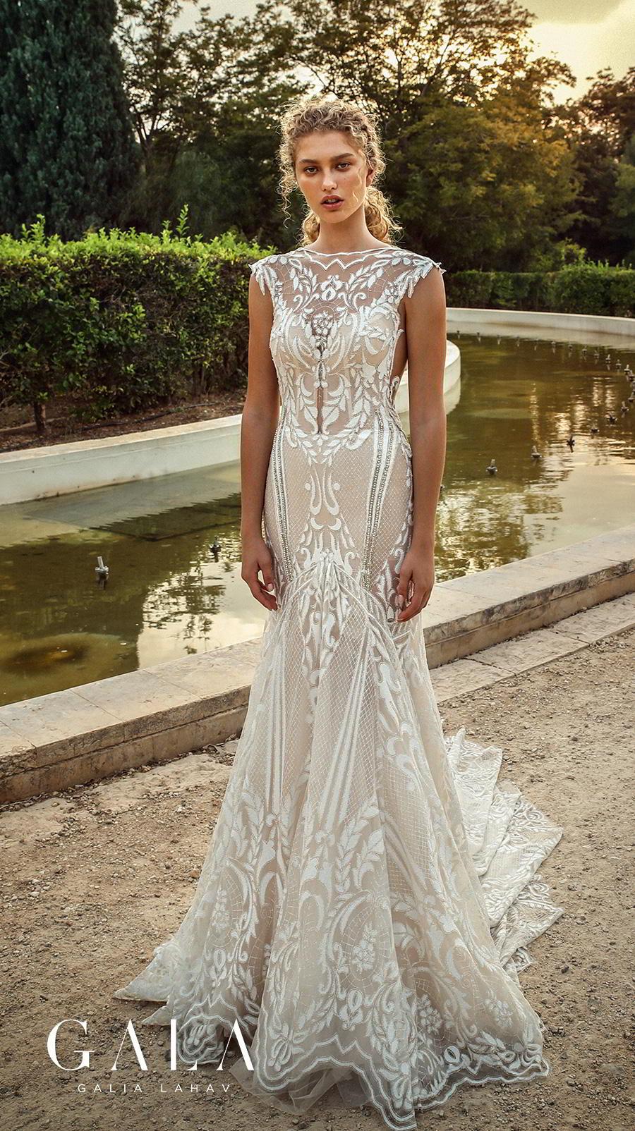 galia lahav gala fall 2019 bridal cap sleeves illusion bateau v neck full embellishment glamorous elegant fit and flare mermaid wedding dress chapel train (202) mv