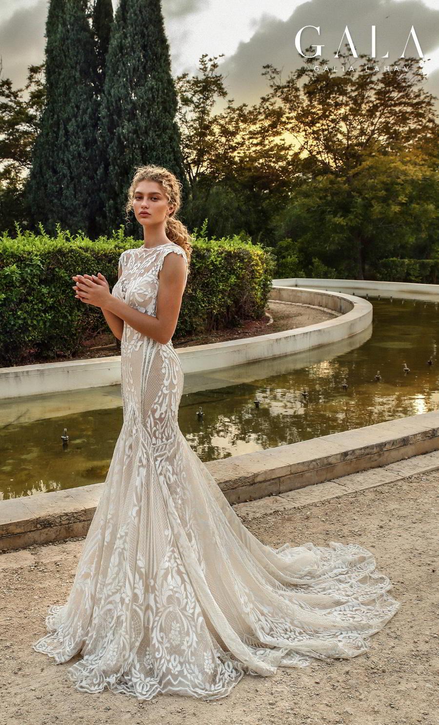 galia lahav gala fall 2019 bridal cap sleeves illusion bateau v neck full embellishment glamorous elegant fit and flare mermaid wedding dress chapel train (202) sdv
