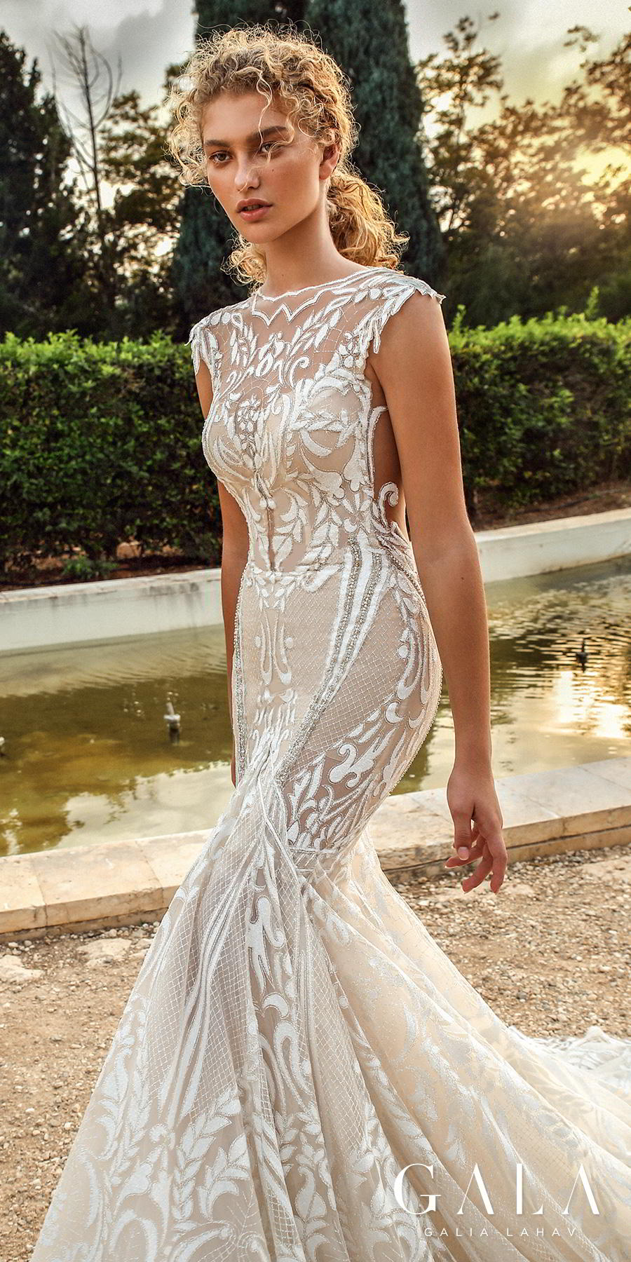 galia lahav gala fall 2019 bridal cap sleeves illusion bateau v neck full embellishment glamorous elegant fit and flare mermaid wedding dress chapel train (202) zsdv