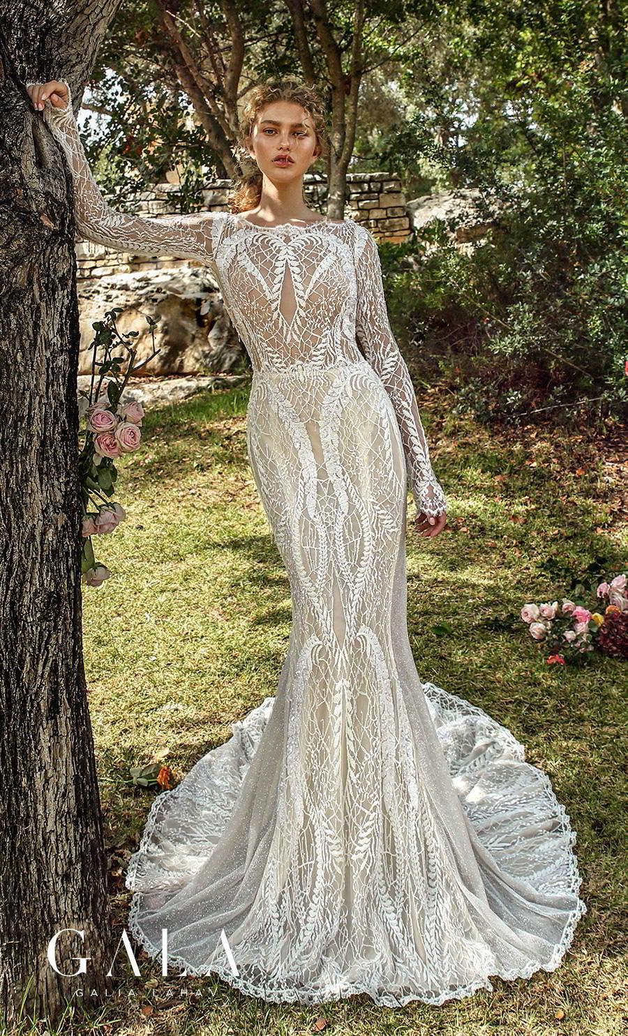 galia lahav gala fall 2019 bridal long sleeves bateau neckline full embellishment elegant lace fit and flare wedding dress low keyhole back chapel train (209) mv