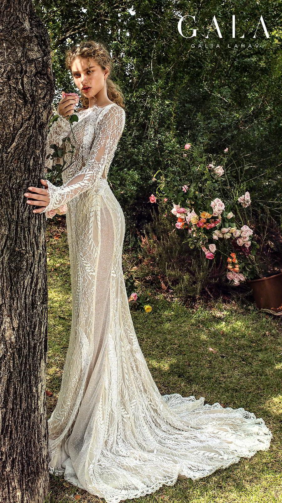 galia lahav gala fall 2019 bridal long sleeves bateau neckline full embellishment elegant lace fit and flare wedding dress low keyhole back chapel train (209) sdv
