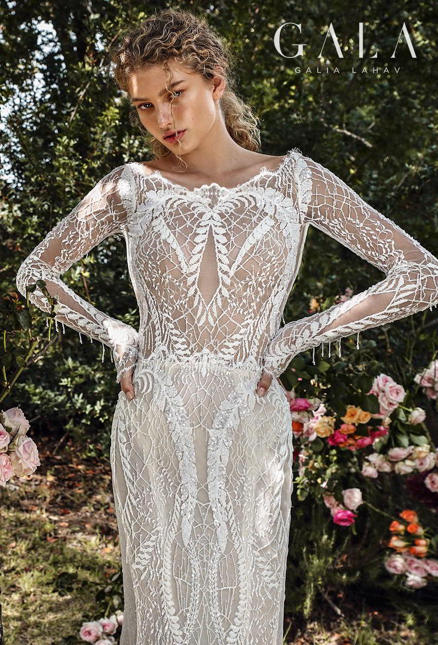 galia lahav gala fall 2019 bridal long sleeves bateau neckline full embellishment elegant lace fit and flare wedding dress low keyhole back chapel train (209) zv