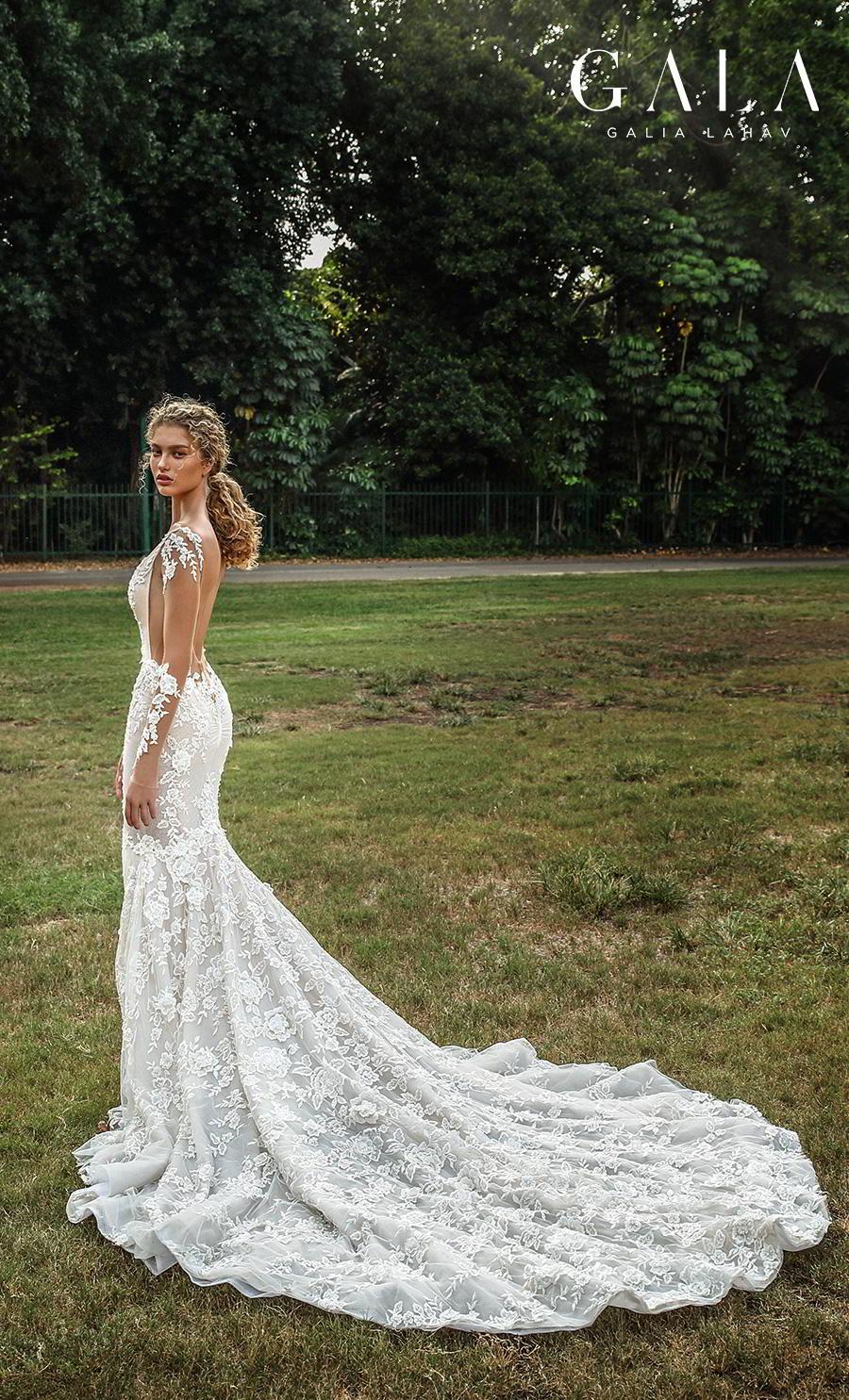 galia lahav gala fall 2019 bridal long sleeves deep v neck full embellishment elegant beautiful mermaid wedding dress backless low open back chapel train (206) bv